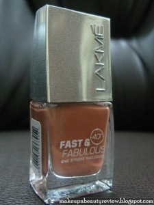 Lakme Absolute Fast and Fabulous One Stroke Nail Color – Shade 15 – Flaming Peach – Review and Swatches